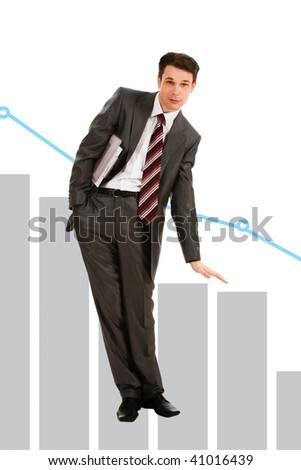 Creative photo of troubled businessman showing slide on graph