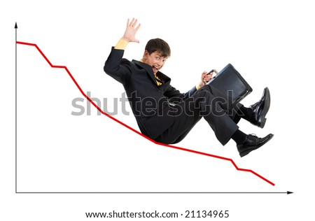 Creative photo of troubled businessman sliding down upon graph - stock photo