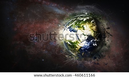 Creative Planet Earth's Global Artwork - Cosmos, Universe, Galaxies - Middle East Mediterranean (Elements of this image furnished by NASA)