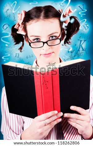 Creative Portrait Of A Young Intelligent Girl Wearing Glasses While Revising Study Notes Flying Out Of A Book In A Depiction Of University Exam Cramming - stock photo