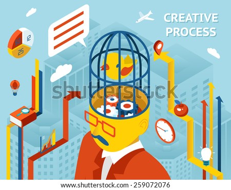 Creative process. Thought and creation, thinking and invention and solution Gears in human head - stock photo