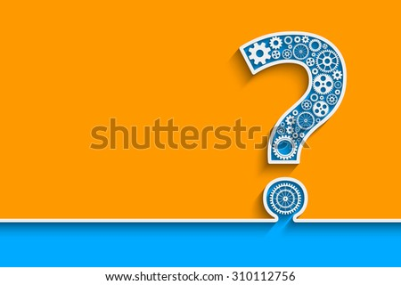 Creative Question mark with gears.  - stock photo