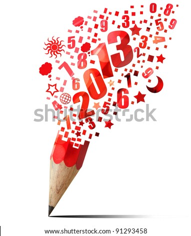 creative red pencil 2013 year isolated on white - stock photo