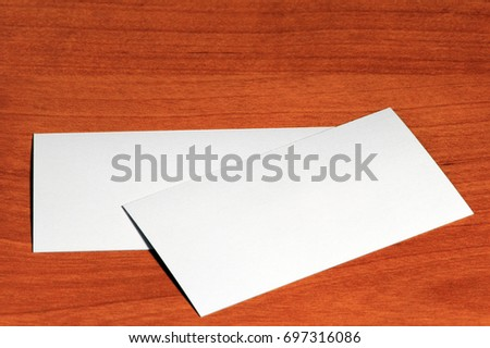 Creative set of mockup, template visit card on wood background