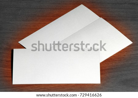 Creative set of mockup, template visit card on wood background, BW tune.