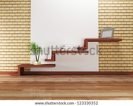 creative shelf on the wall and a palm, rendering - stock photo