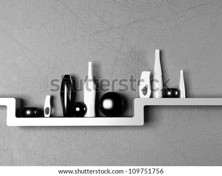 creative shelf with the vases, rendering - stock photo