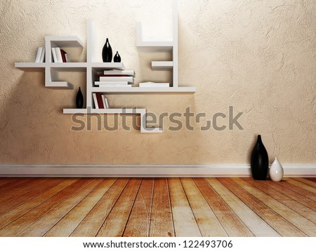 creative shelves on the wall, rendering - stock photo
