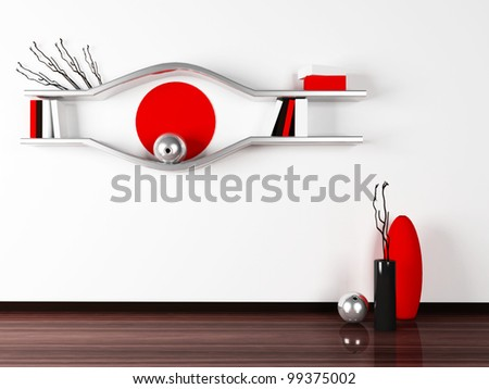 creative shelves on the white wall.3d rendered. - stock photo