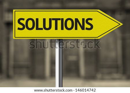 Creative sign with the message - Solutions - stock photo