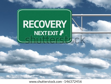 Creative sign with the text - Recovery, Next Exit - stock photo