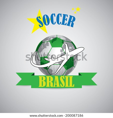 Creative soccer symbol of a ball and plane