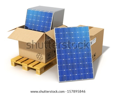 Creative solar power generation technology, alternative energy and environment protection ecology business concept: solar battery panels packed in cardboard box on shipping pallet isolated on white - stock photo