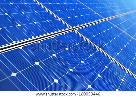 Creative solar power generation technology, alternative energy and environment protection ecology business concept: macro view of blue solar battery panels with selective focus effect