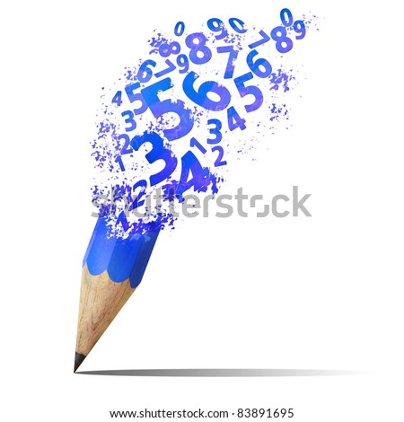 creative splash  pencil with blue number isolate on white - stock photo