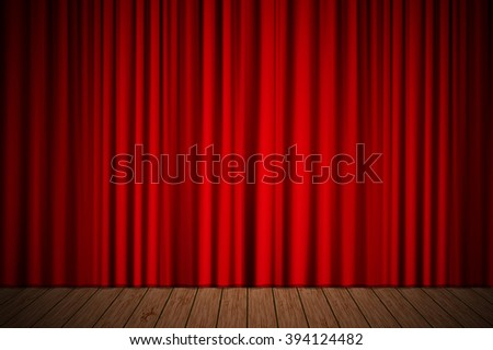 Creative stage with red curtain. illustration for your design - stock photo