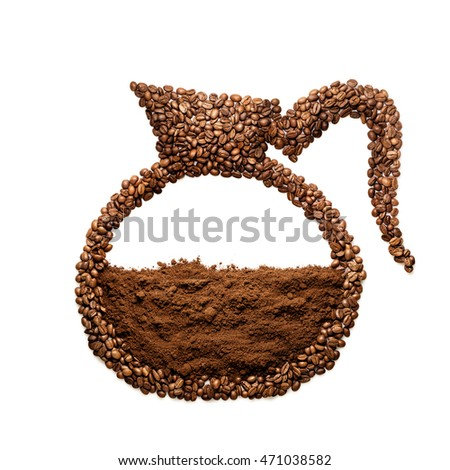Creative still life of a coffee pot made of roasted coffee beans, isolated on white