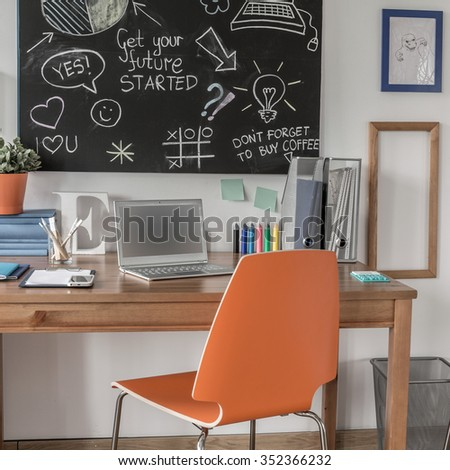 Creative study space in modern teen room - stock photo