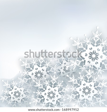 Creative stylish abstract background with 3d snowflake. Winter gray background with white ornate snowflakes. New Year and Christmas card with place for text. Winter wallpaper. Raster version - stock photo