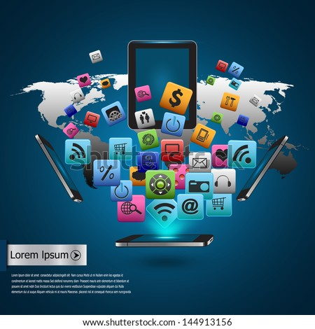 Creative tablet computer with mobile phones cloud of colorful application icon, Business software and social media networking - stock photo