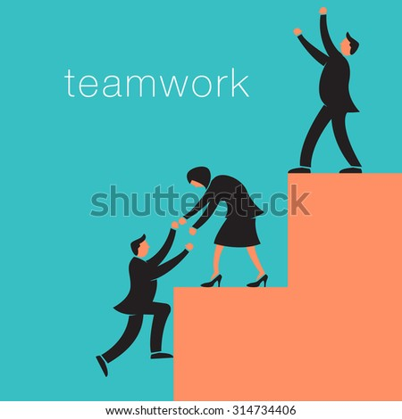 Creative teamwork background with business people climbing to victory - stock photo