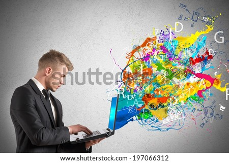 Creative technology with colorful effect that exit from a  table - stock photo