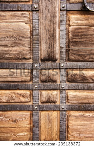 Creative textured background old wood, wrought iron stylized medieval - stock photo