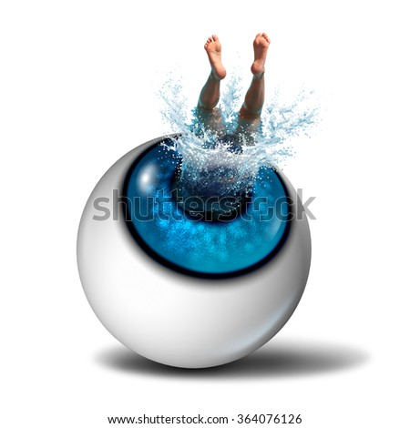 Creative thinking concept and shared vision symbol as a business icon as a person making a splash by diving into a human eye as a success metaphor for aquatic sports or eyesight health. - stock photo