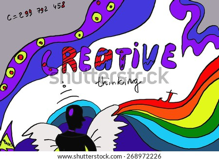Creative thinking, Create, Creative background drawing - stock photo