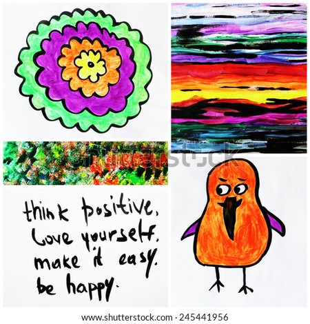 Creative thinking or Creative background, Think positive, Love yourself, Be happy, Make it easy, Think outside the box - stock photo
