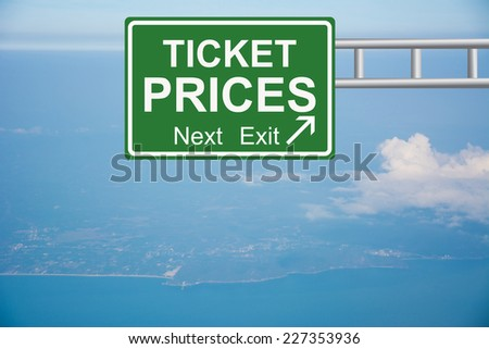 Creative TICKET PRICES Road Sign  - stock photo