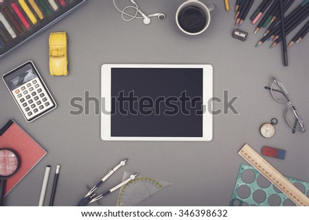 Creative top view tablet pc. - stock photo
