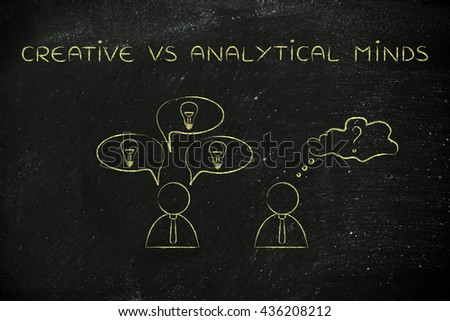 creative vs analytical minds: man reacting with plenty of ideas and another person overanalysing the situation, business men icons version - stock photo