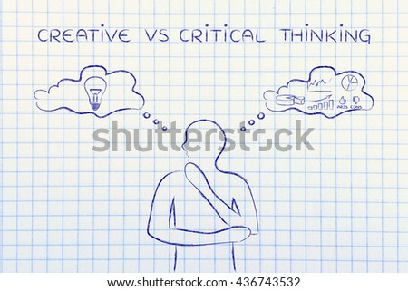 creative vs critical thinking: thoughtful man elaborating intuitive thoughts (right side of his brain) and analytical reasonings (his left side) - stock photo