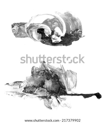 Creative watercolor and mixed media blak and white abstract or design element, isolated on paper background