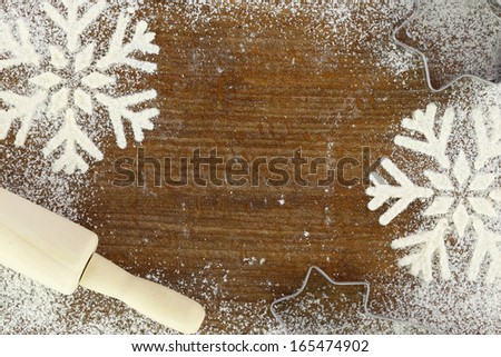 Creative winter time baking background  - stock photo