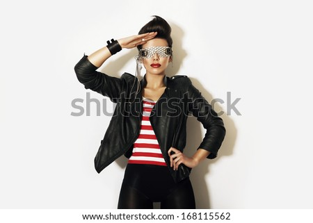 creative woman in glasses - stock photo