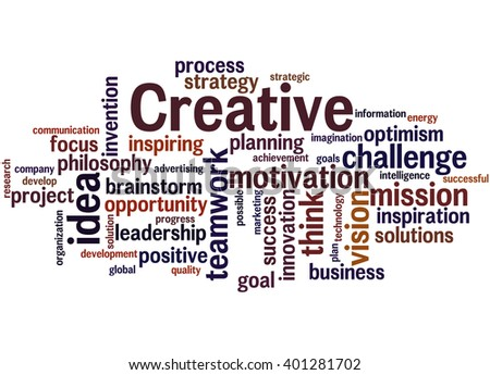 Creative, word cloud concept on white background.