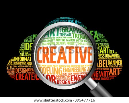 CREATIVE word cloud with magnifying glass, business concept - stock photo