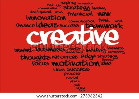 CREATIVE word on speech bubble with business concept - stock photo