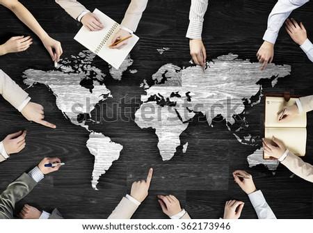 Creative work of business team - stock photo