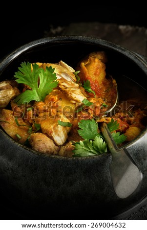 Creatively lit bowl of cooked Indian chicken curry with coriander garnish against a rustic background. The perfect image for your indian menu cover design. - stock photo