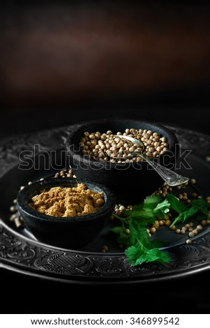Creatively lit Indian fresh coriander seeds, also called cilantro seeds, with powdered curry powder against a rustic background with selective focus. Concept image for Indian cooking. Copy space. - stock photo