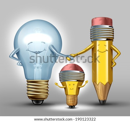 Creativity concept as a mother lightbulb and father pencil giving birth to a child that combines the both parents as a synergy metaphor for successful results with collaboration through planning. - stock photo