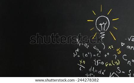creativity concept for good ideas on blackboard  - stock photo