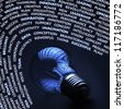 Creativity concept with old incandescent lightbulb and words around it - stock photo