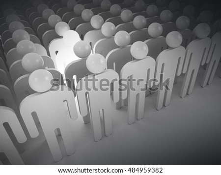 Creativity metaphor concept. White lghting man in crowd of schematic people, 3d illustration