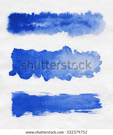 Creativity watercolor. Blue abstract painted ink strokes set on watercolor paper. Ink strokes. Flat kind brush watercolor stroke. - stock photo