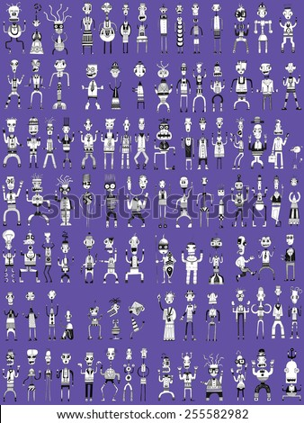 CREATURES people funny caricatures graphic simple figures cartoon attitudes expressions LARGE pattern purple
