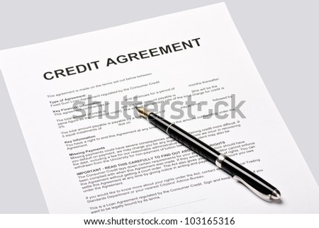 credit agreement lies for the signature - stock photo